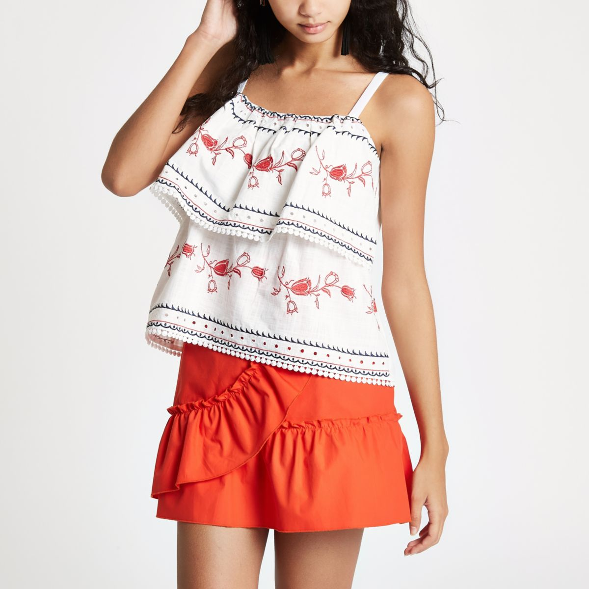 White tiered embroidered cami top