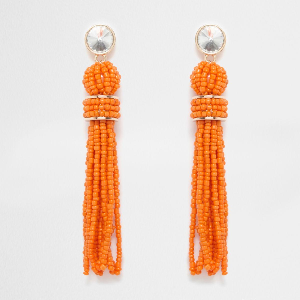 Orange seedbead bead drop stud earrings