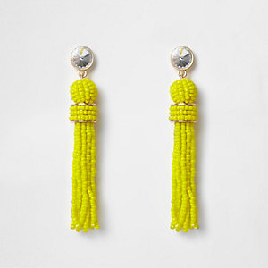 Bright yellow seedbead tassel earrings
