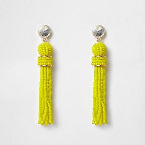 Boucles d'oreilles jaune vif à pampille et perle