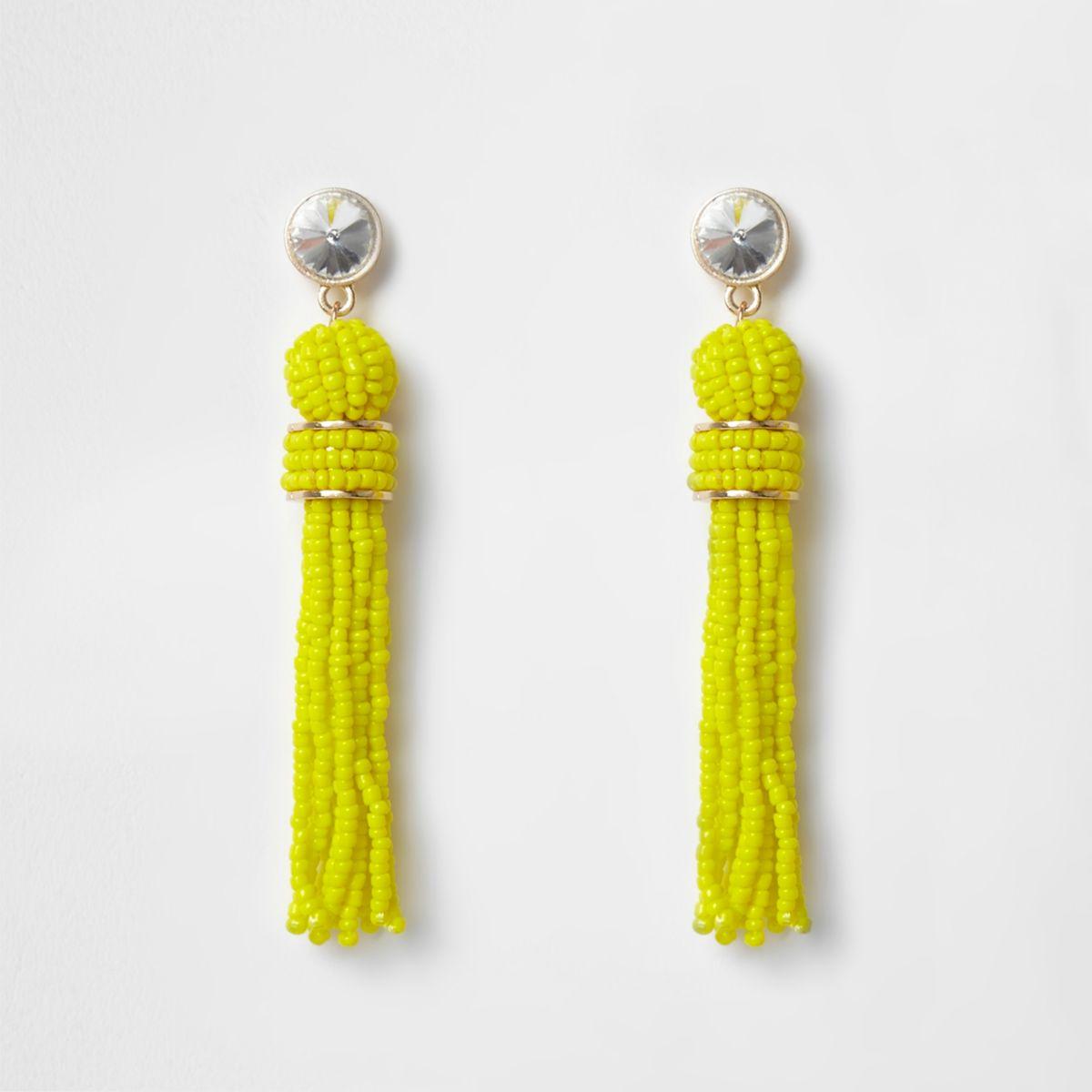 Bright yellow seedbead tassel earrings