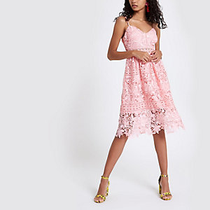 Pink lace cami midi dress