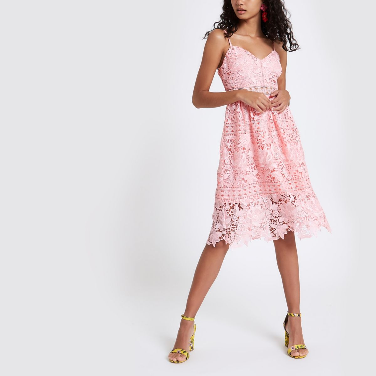 Pink Lace Cami Midi Dress by River Island