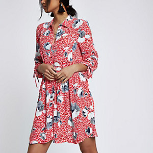 Red crepe drop waist floral shirt