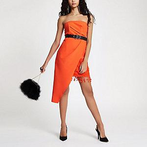 Asymmetrisches Bodycon-Kleid mit Quasten