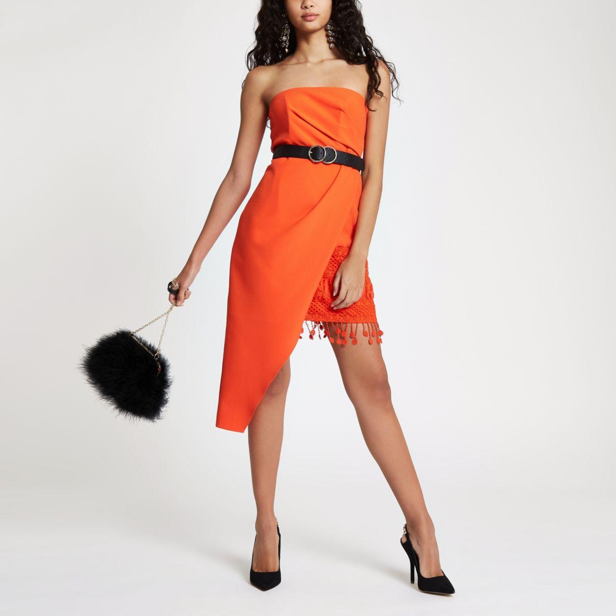 Red tassel hem bodycon dress