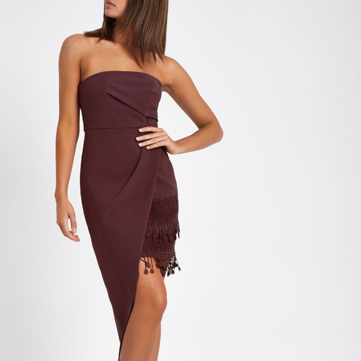Brown asymmetric tassel hem bodycon dress