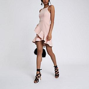 Hochgeschlossenes Bodycon-Kleid in Hellrosa