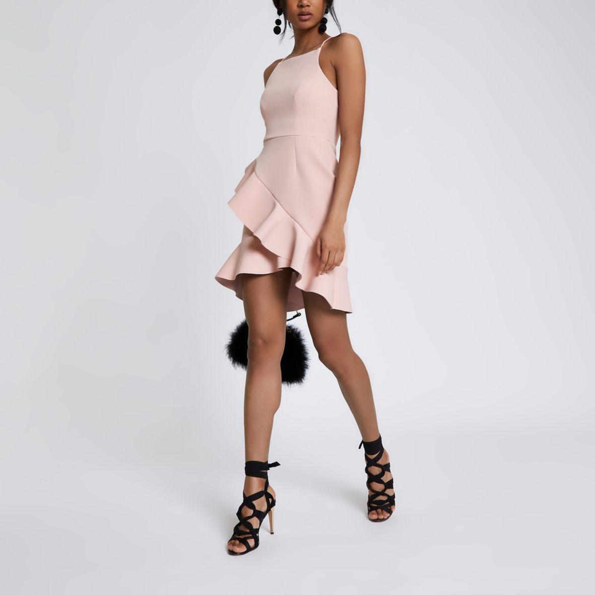 Light pink frill high neck bodycon dress