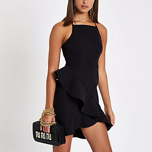 Black frill high neck bodycon dress