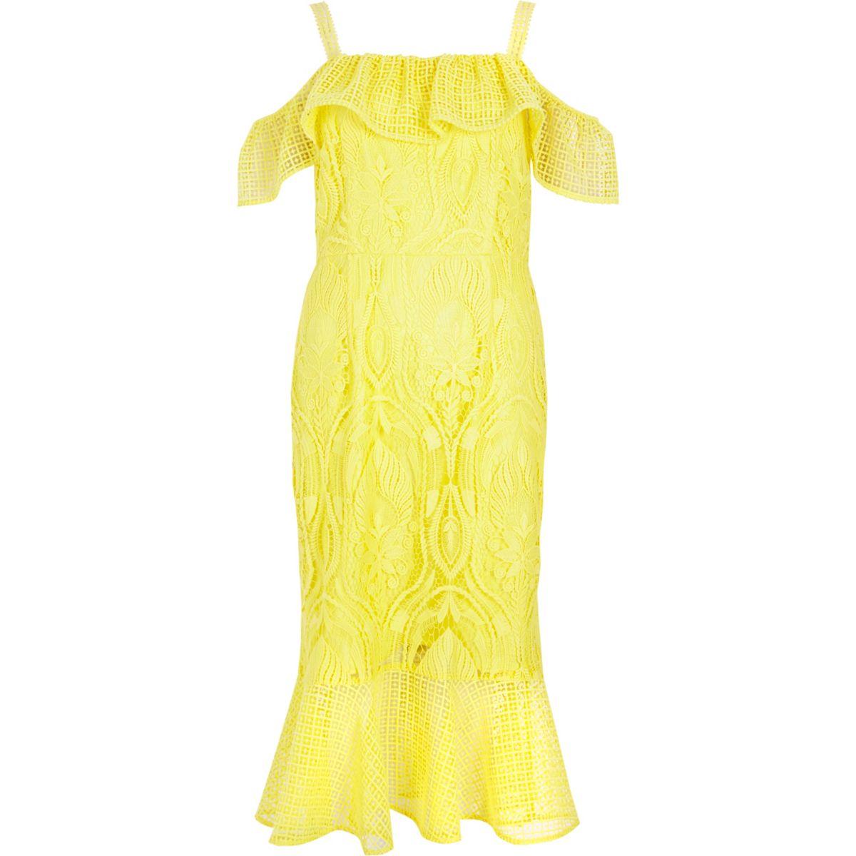 Yellow lace peplum hem occasion dress