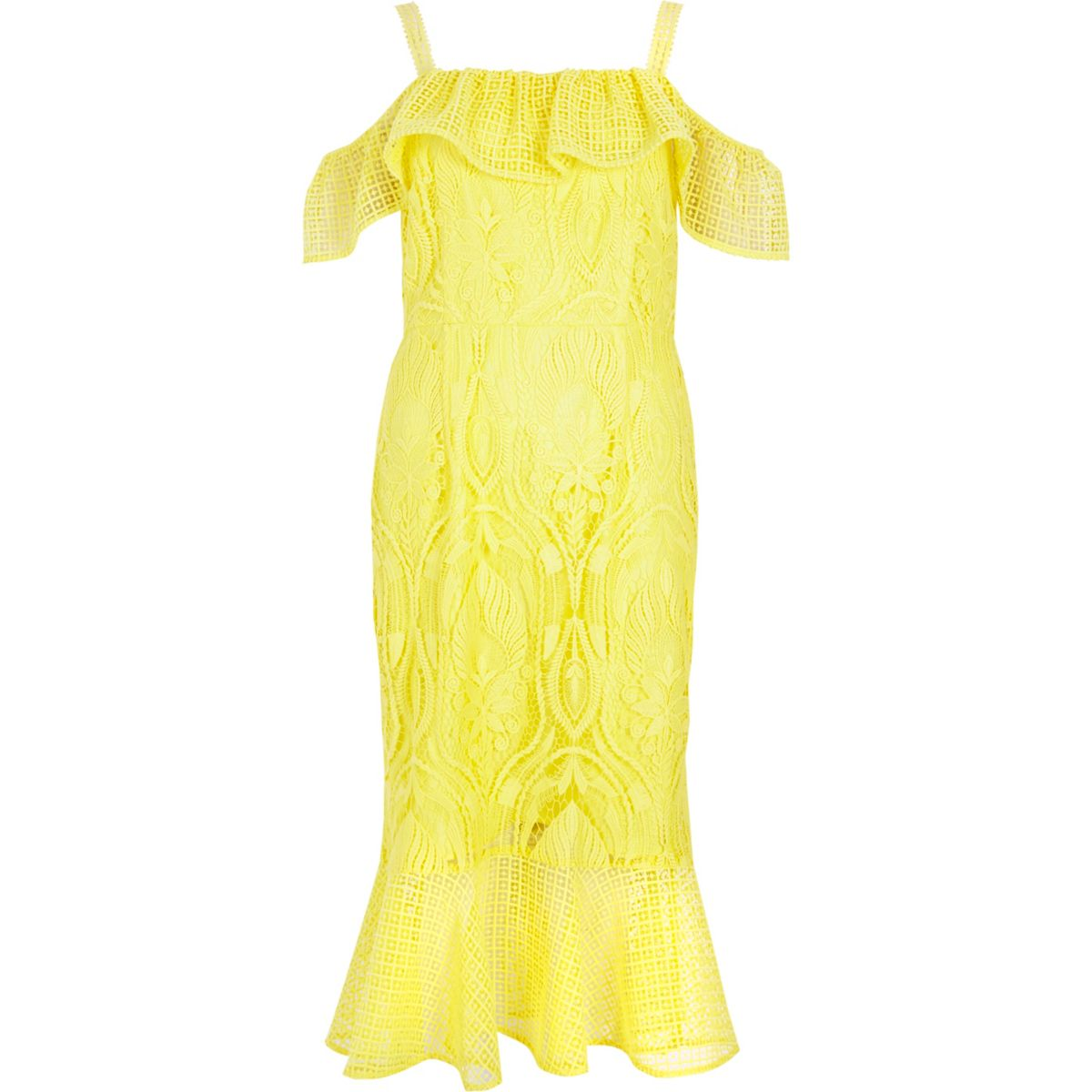 Yellow lace peplum hem occasion dress