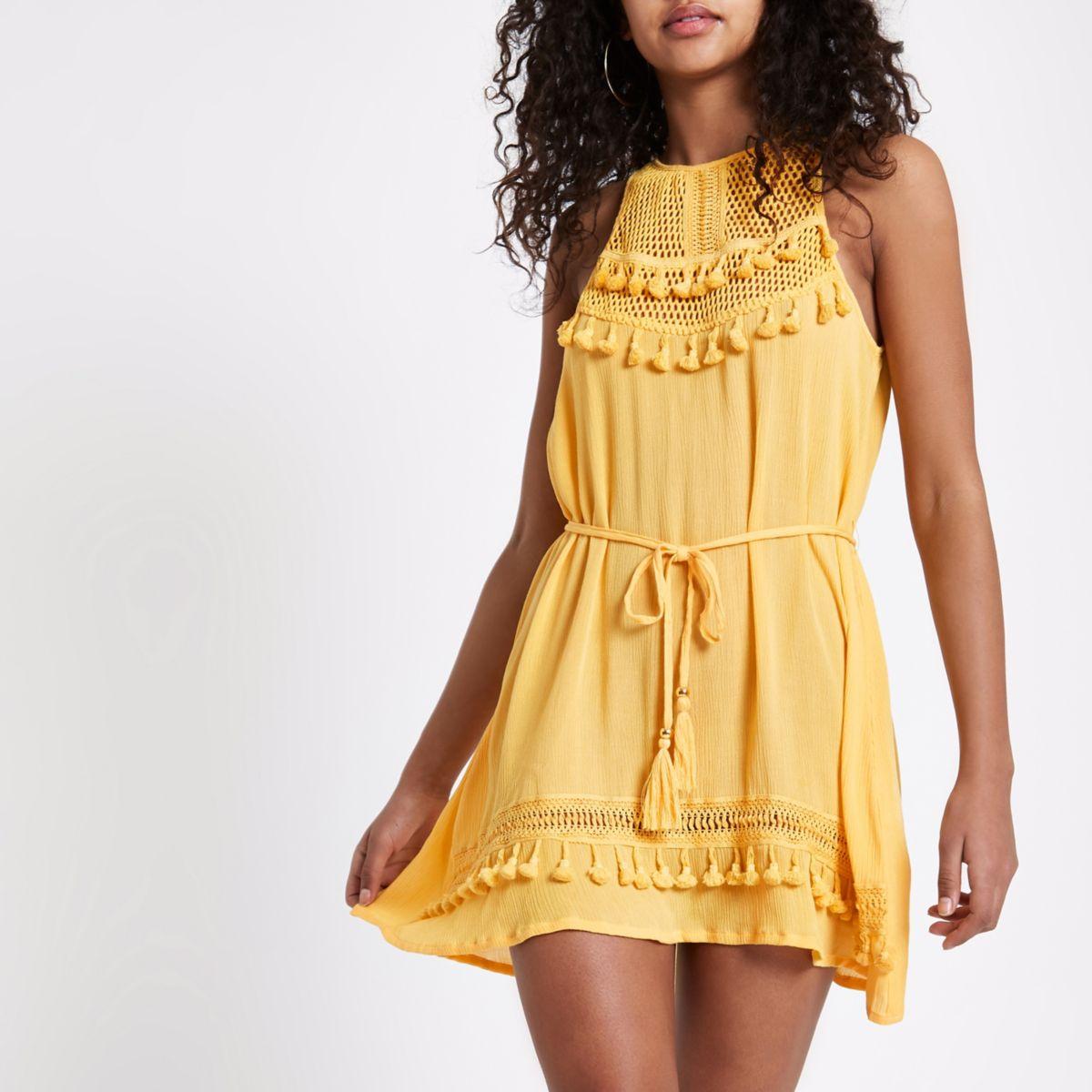 Yellow mesh high apex dress