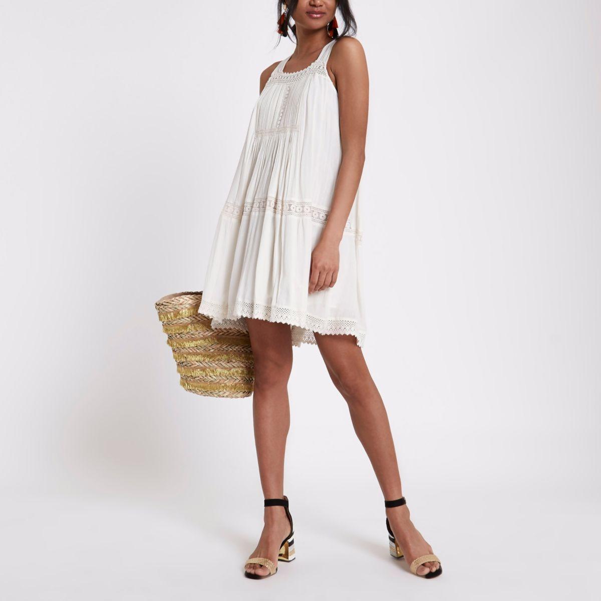 Cream lace open back swing dress