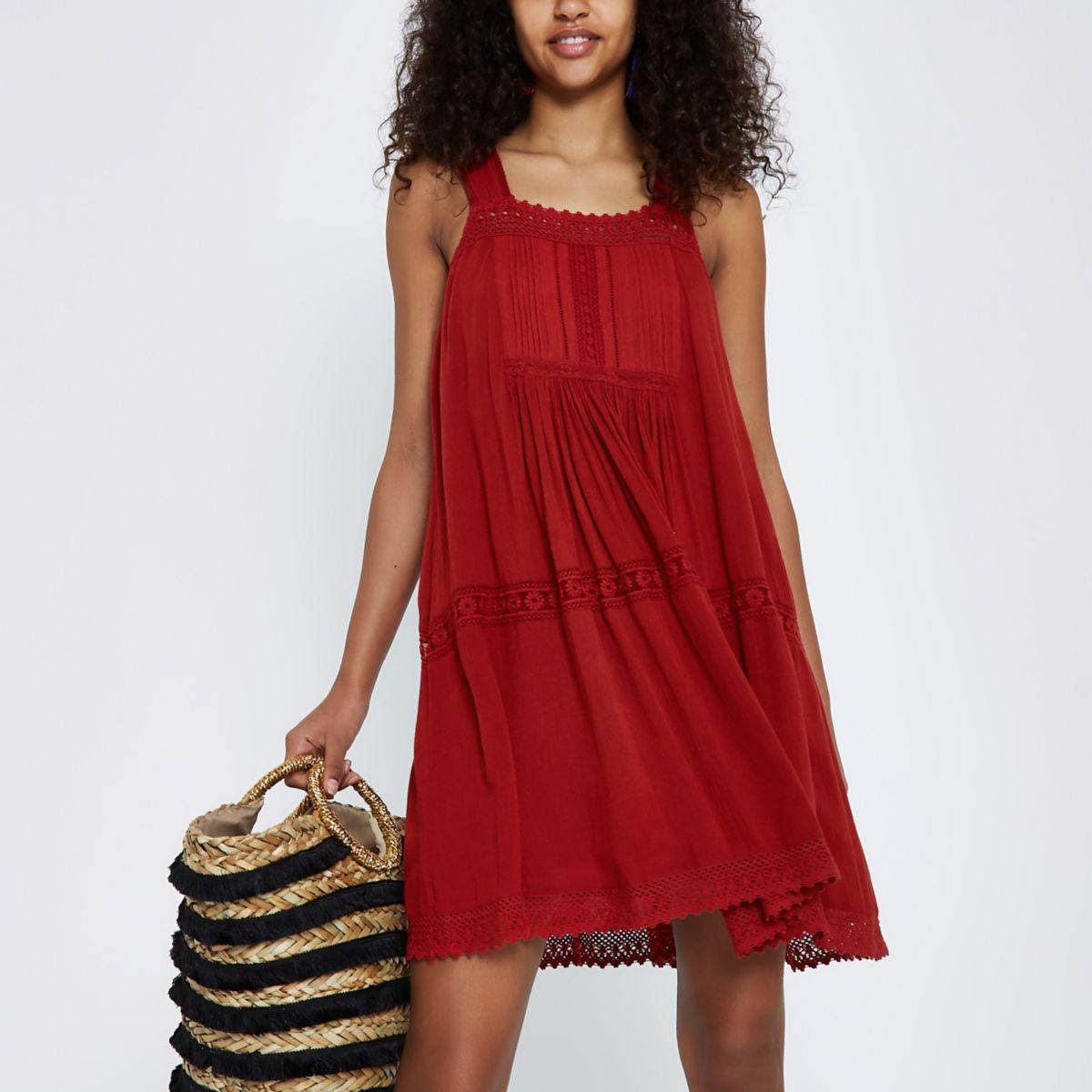 Red lace open back swing dress