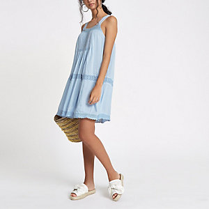 Blue lace trim open back swing dress