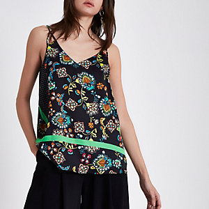 Black floral block print cami top
