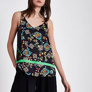 Caraco à fleurs noir avec bandes contrastantes