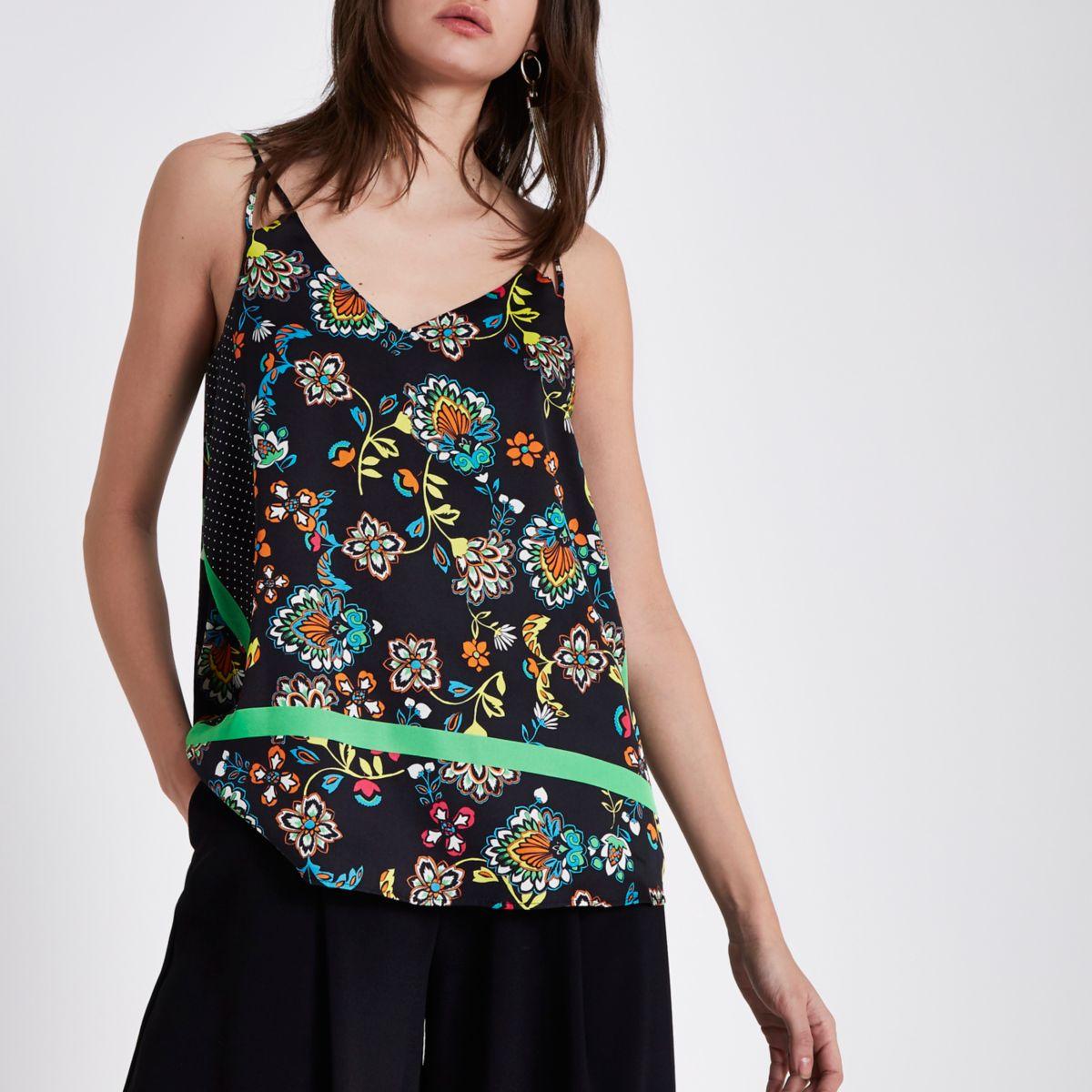 Zwarte cami top met bloemenprint en kleurvlakken
