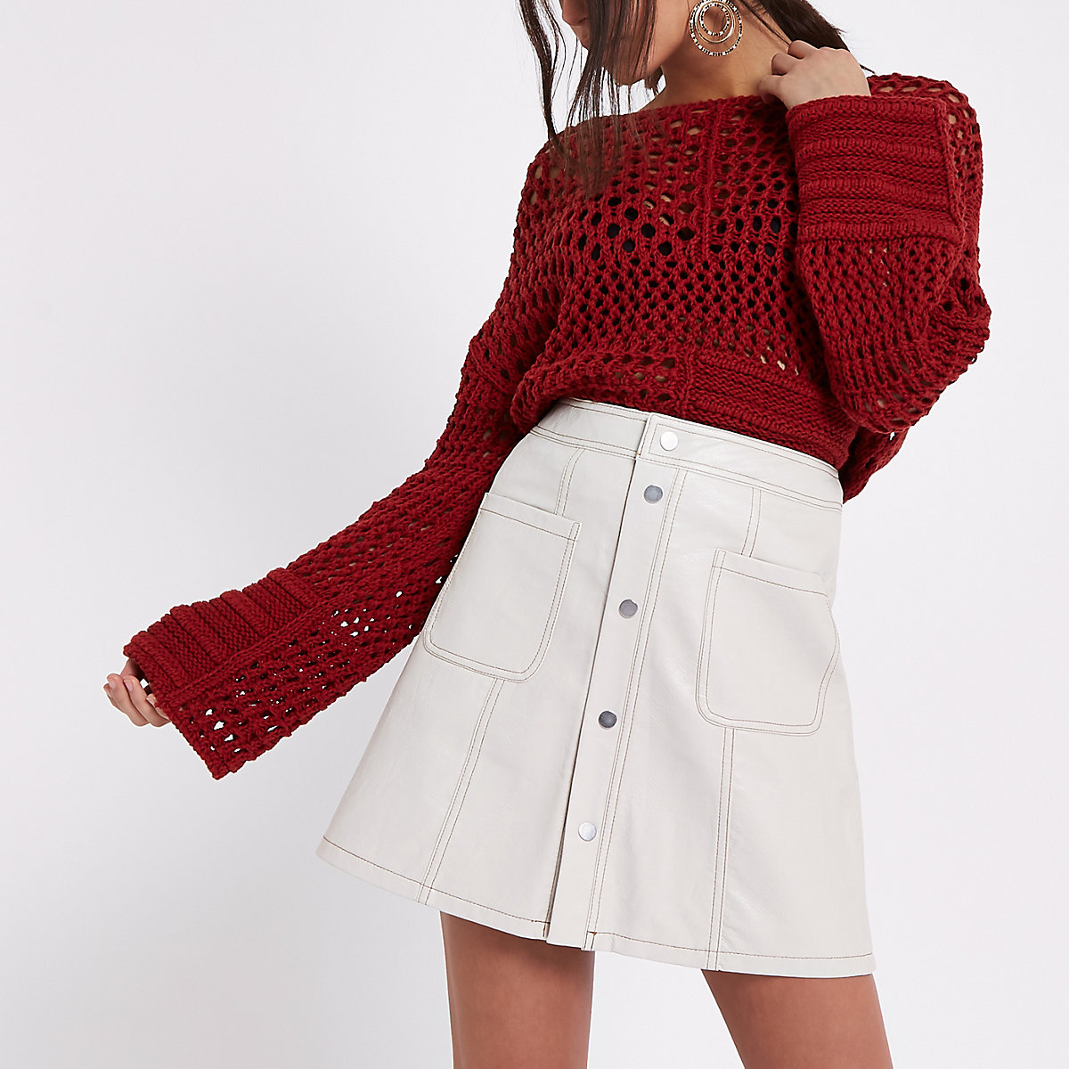 Cream faux leather A line mini skirt
