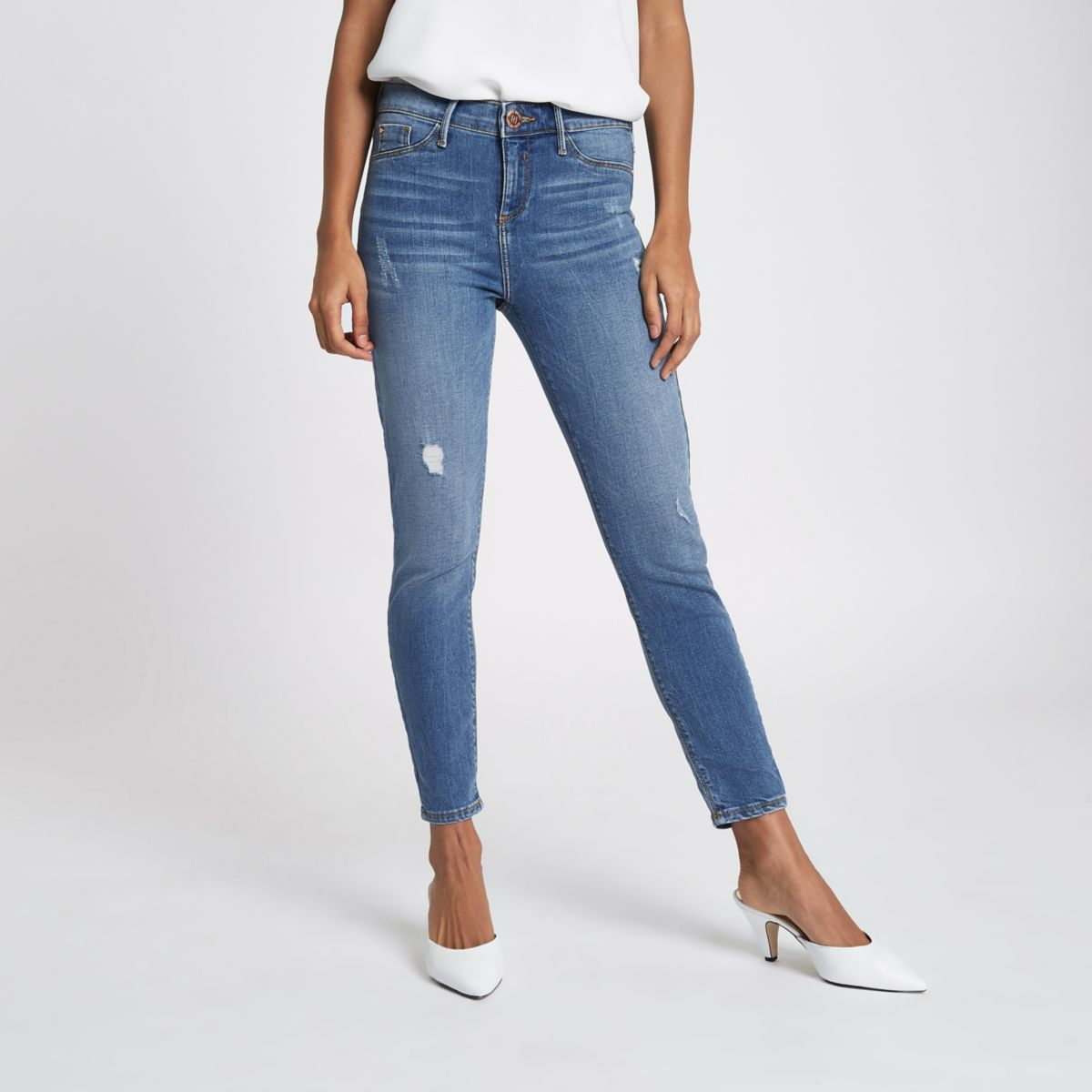 Petite blue Molly distressed skinny jeggings
