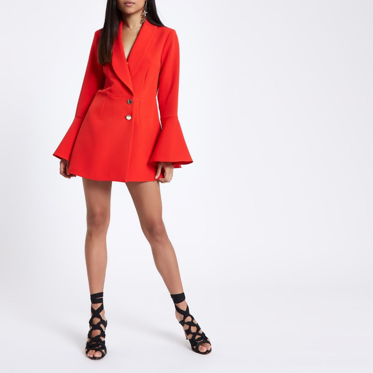 Petite red tux padded shoulder playsuit