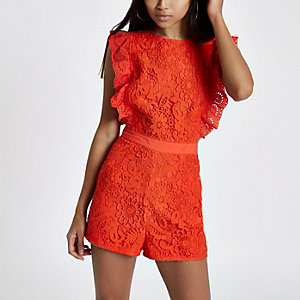 Petite Red lace frill sleeveless playsuit