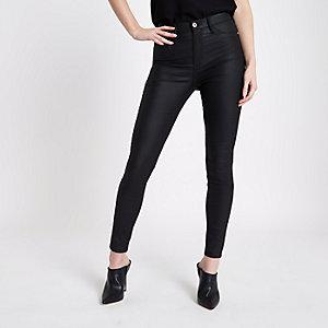 Harper – Schwarze, beschichtete Jeans mit hohem Bund