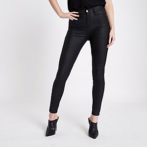 Black coated Harper high waisted jeans