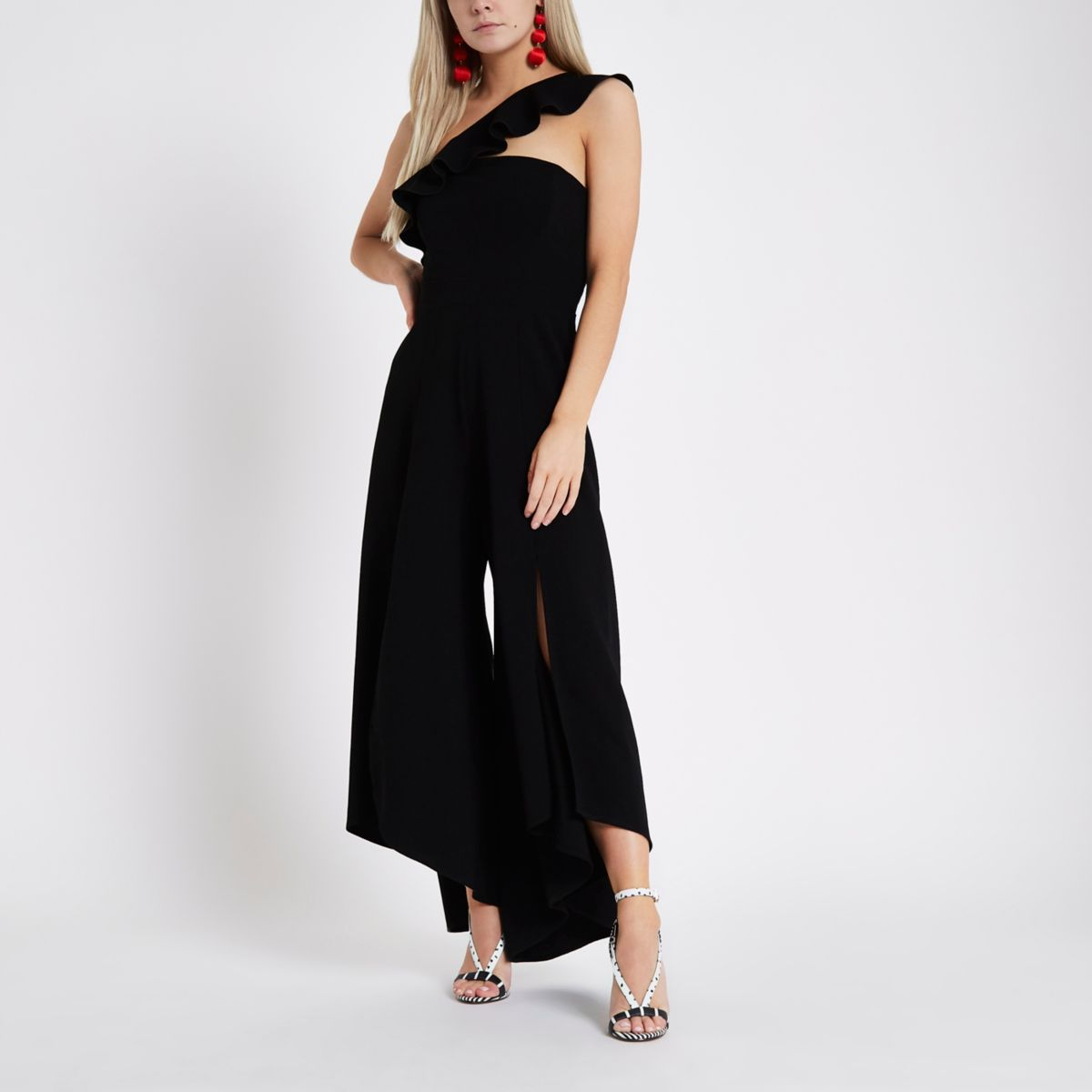 Petite black frill wide split leg jumpsuit