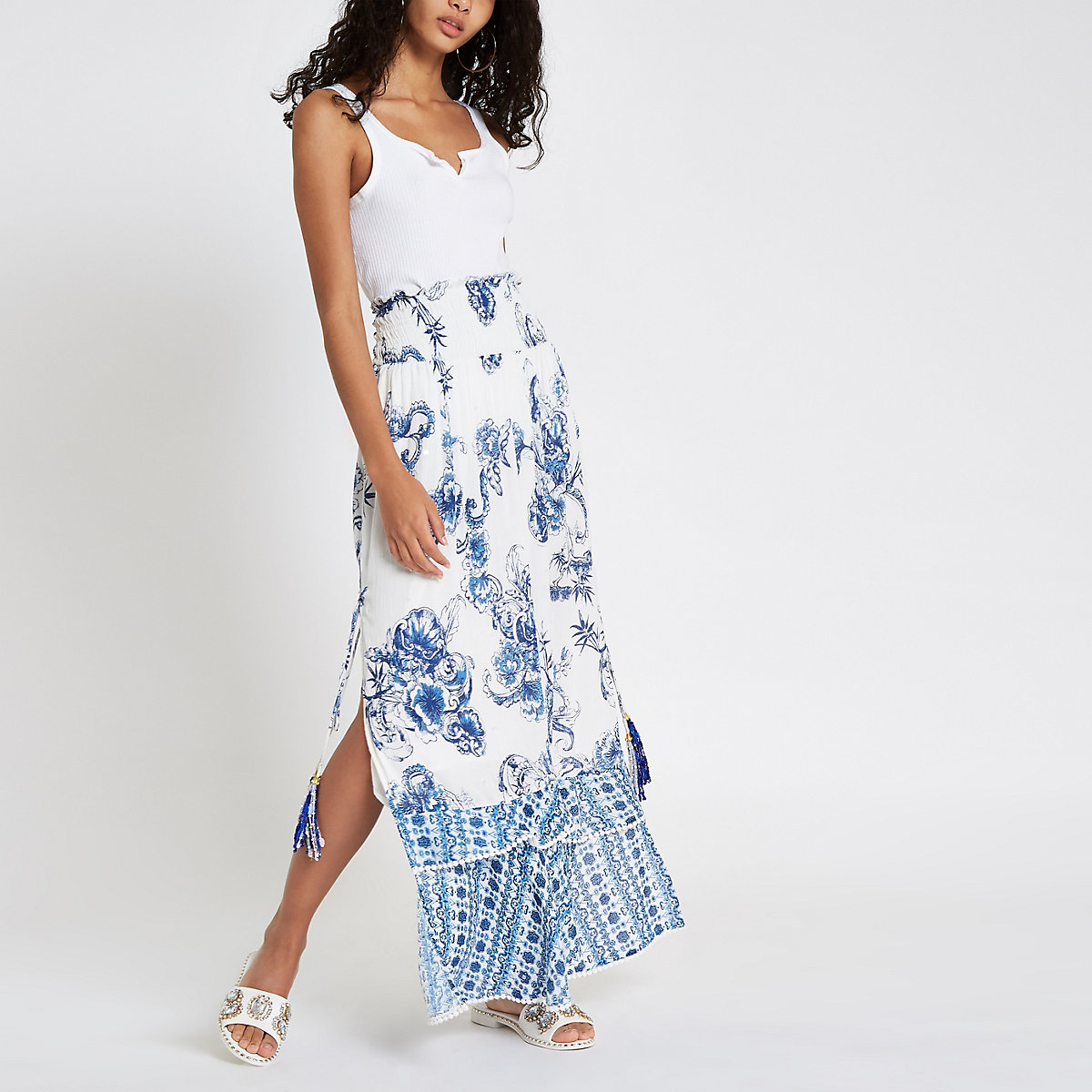 Blue floral sequin shirred maxi skirt