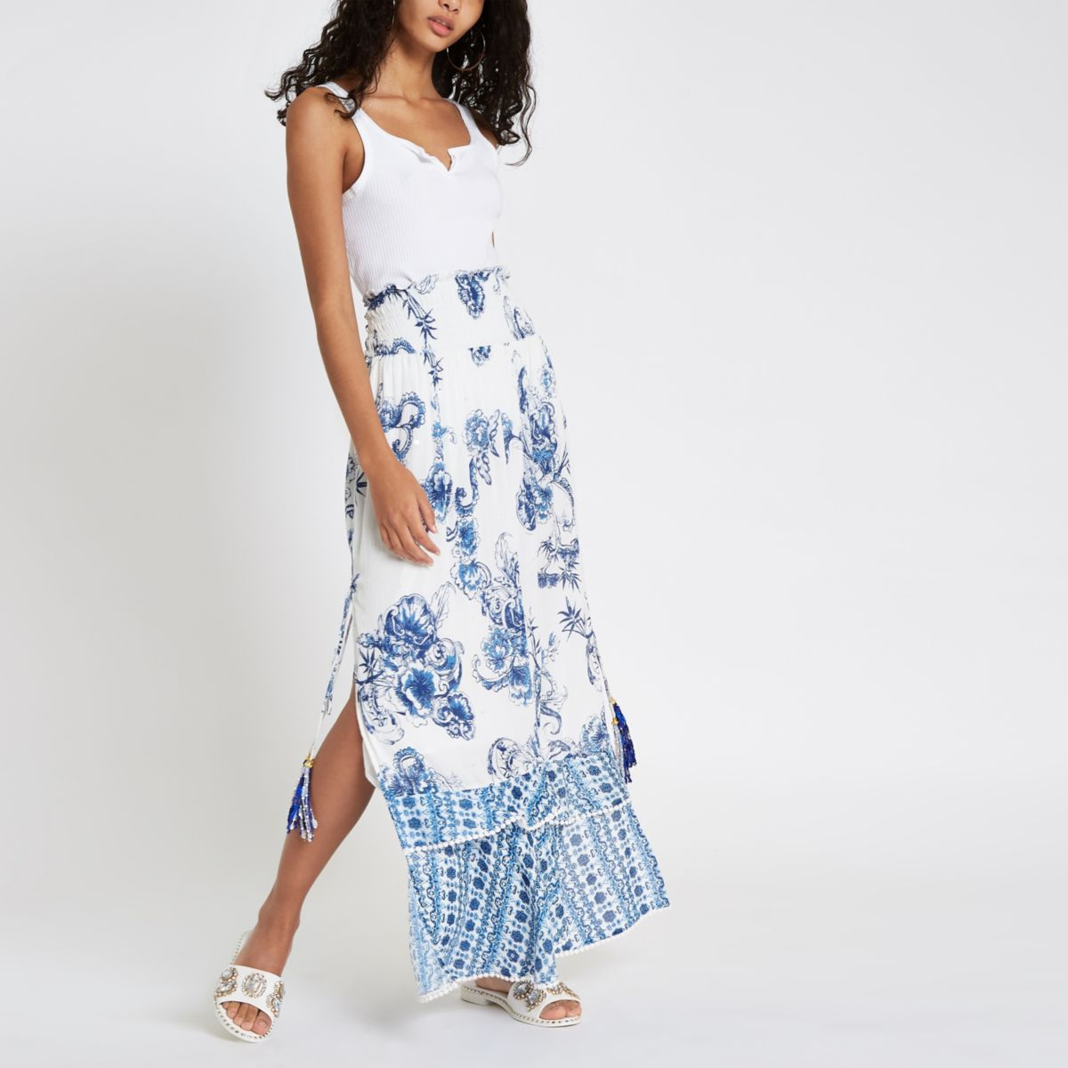 Blue Floral Sequin Shirred Maxi Skirt by River Island
