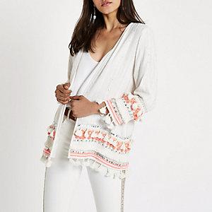 Kimono de plage imprimé aztèque crème brodé à pampilles