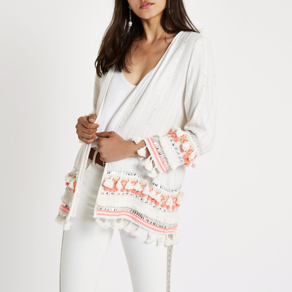 Cream aztec embroidered tassel beach kimono