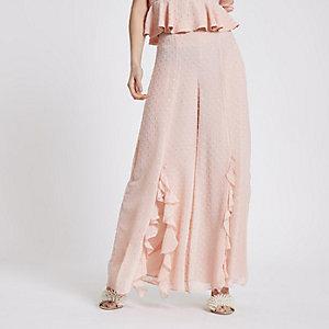 RI Petite - Roze broek met wijde pijpen en stippen