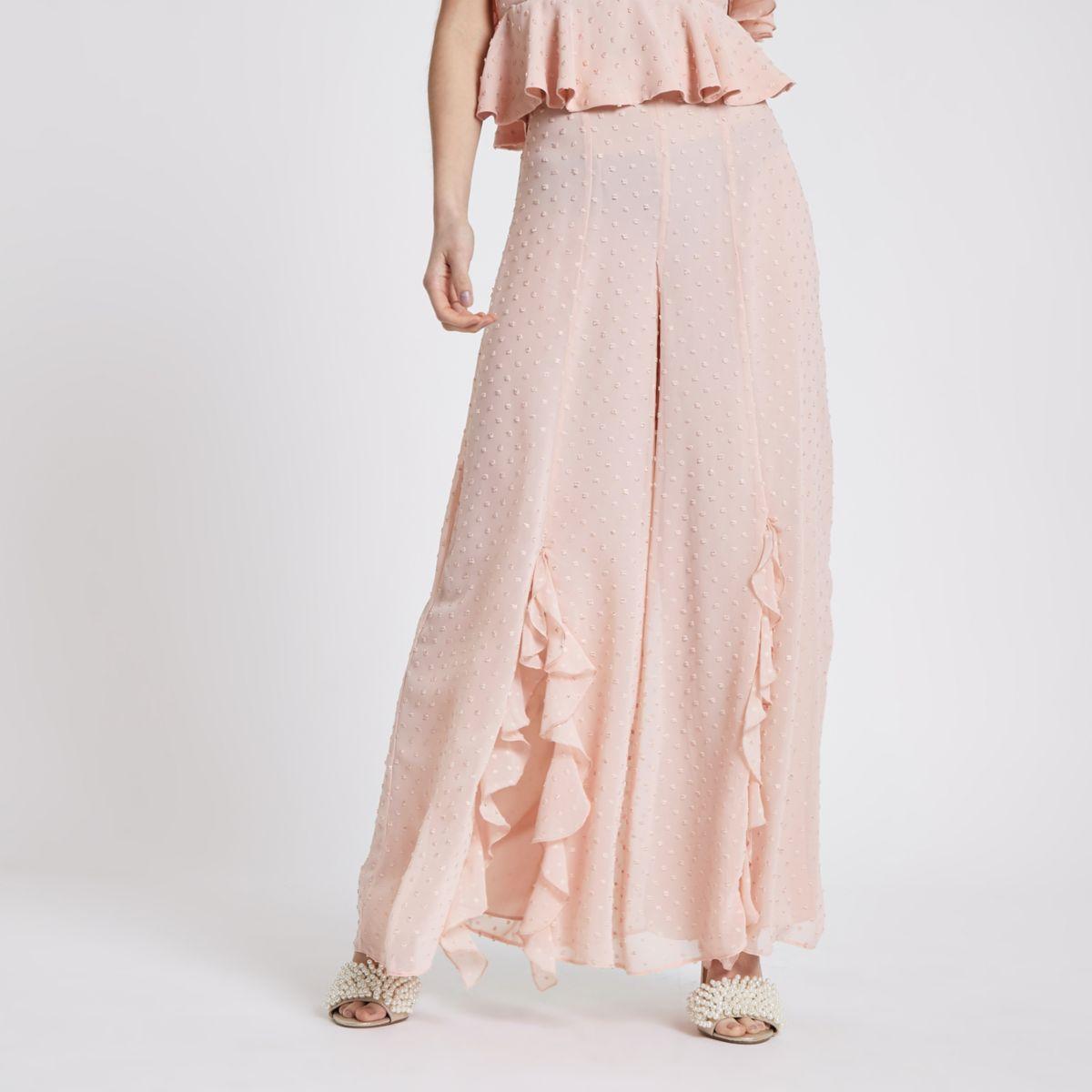 Petite pink polka dot wide leg trouser