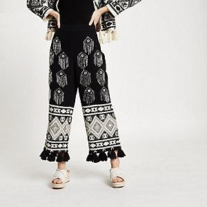 Petite – Jupe-culotte noire ornée avec ourlet à pampilles