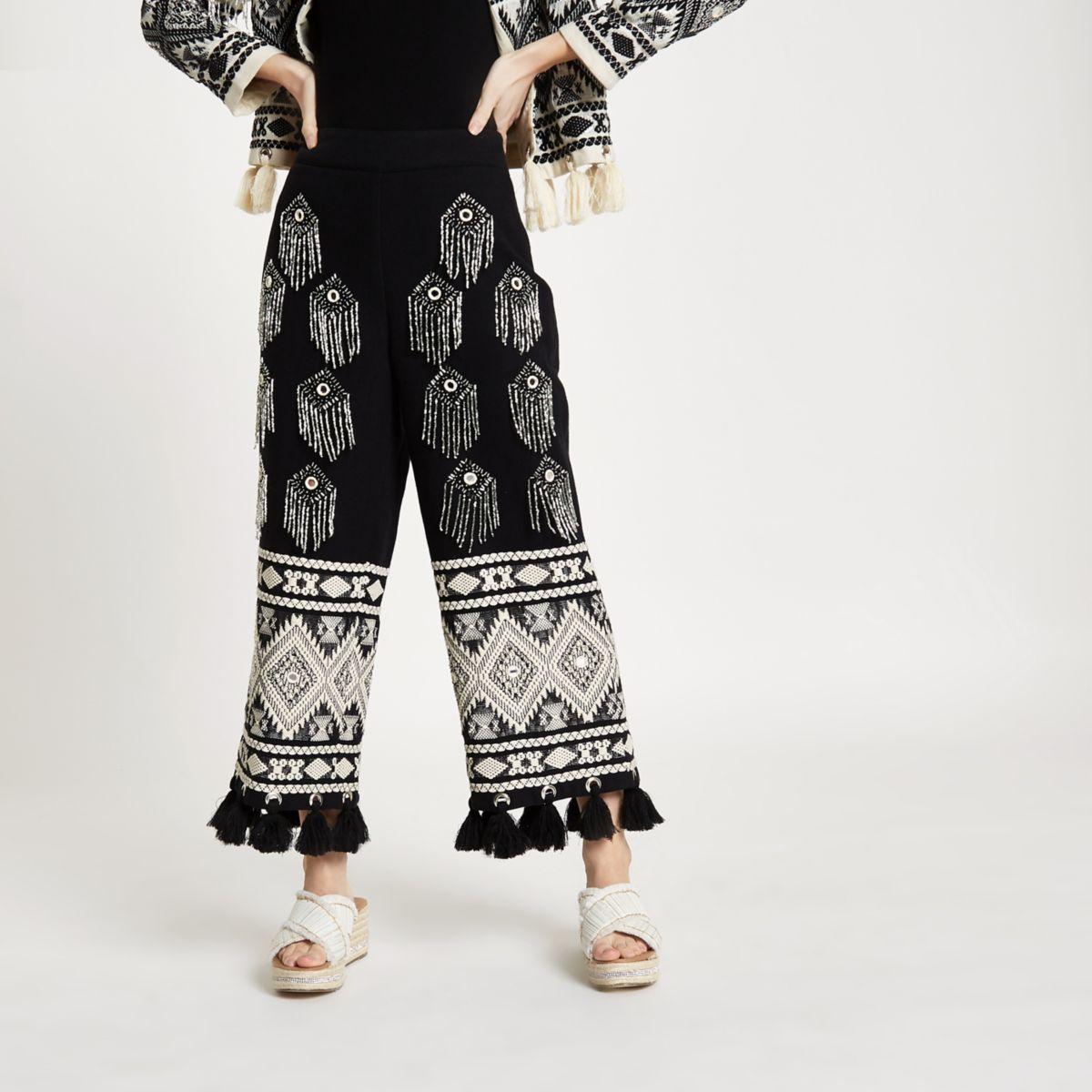 Petite black embellished tassel hem culottes