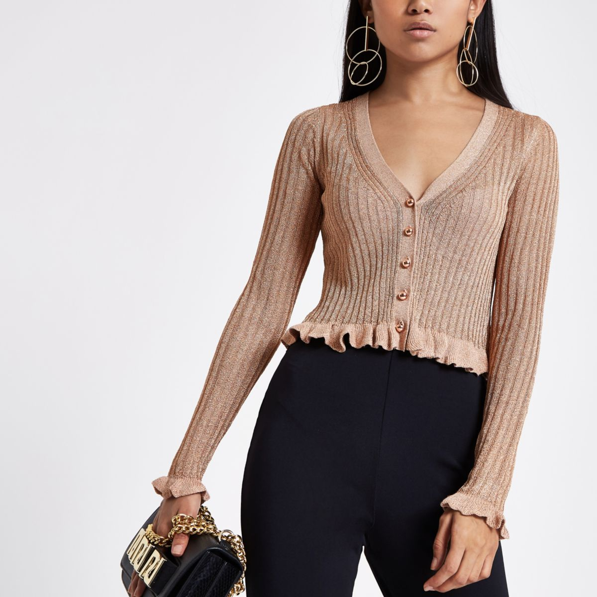 Petite rose gold cropped frill knit cardigan
