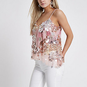 Petite pink sequin embellished cami top