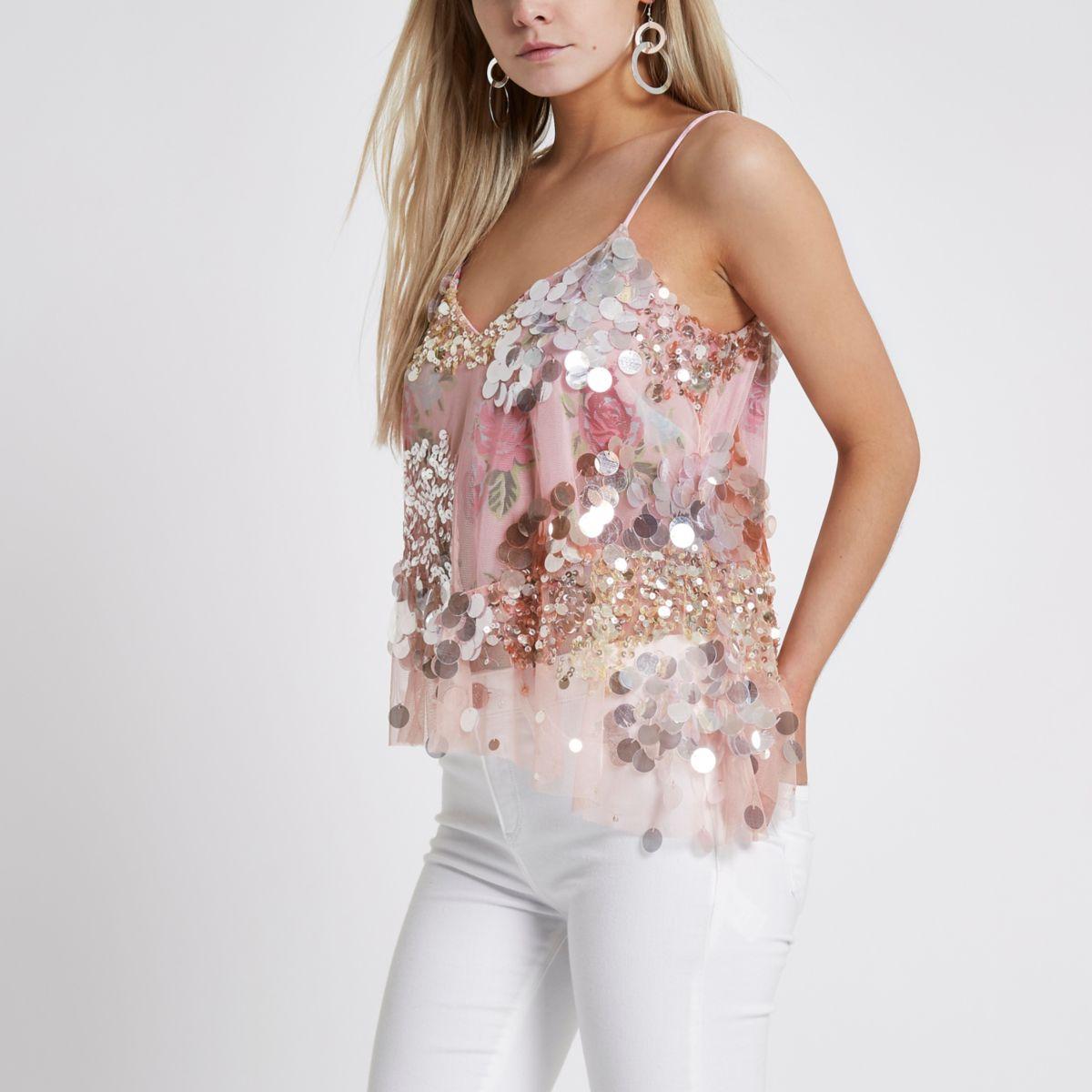 Petite pink sequin embellished cami top