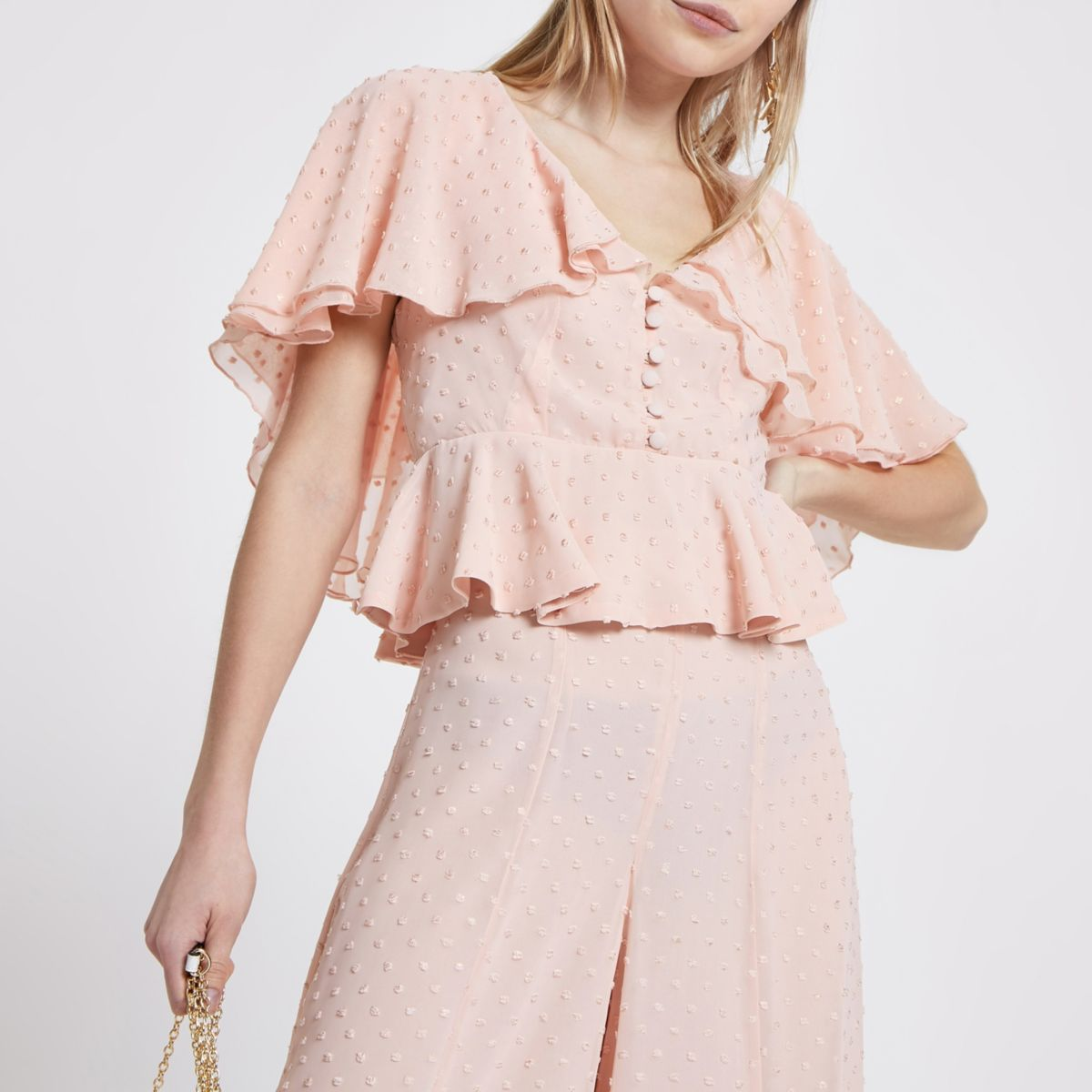 Petite pink polka dot frill cape top
