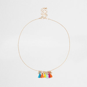 Gold tone multicolour mini tassel necklace