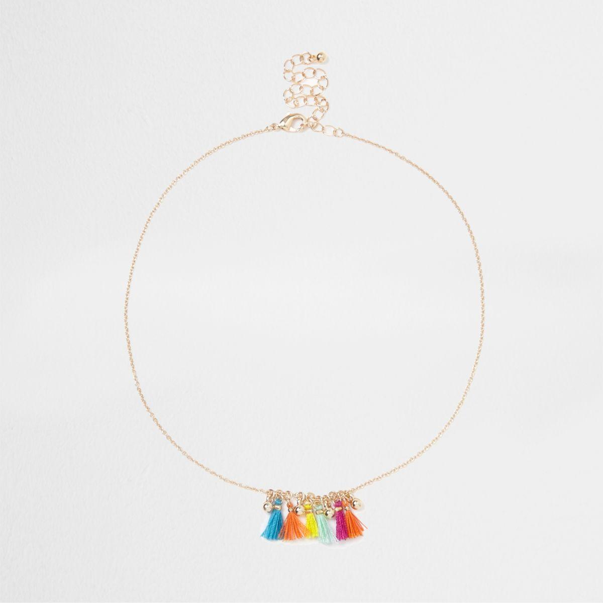 Gold tone multicolour mini tassel necklace
