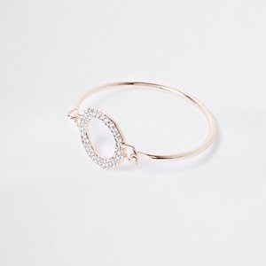Rose gold tone diamante pave circle bracelet