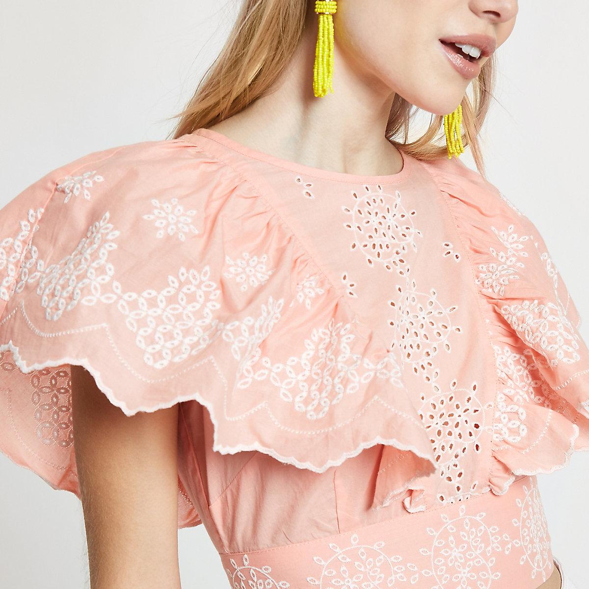 Petite pink broidery tie back crop top