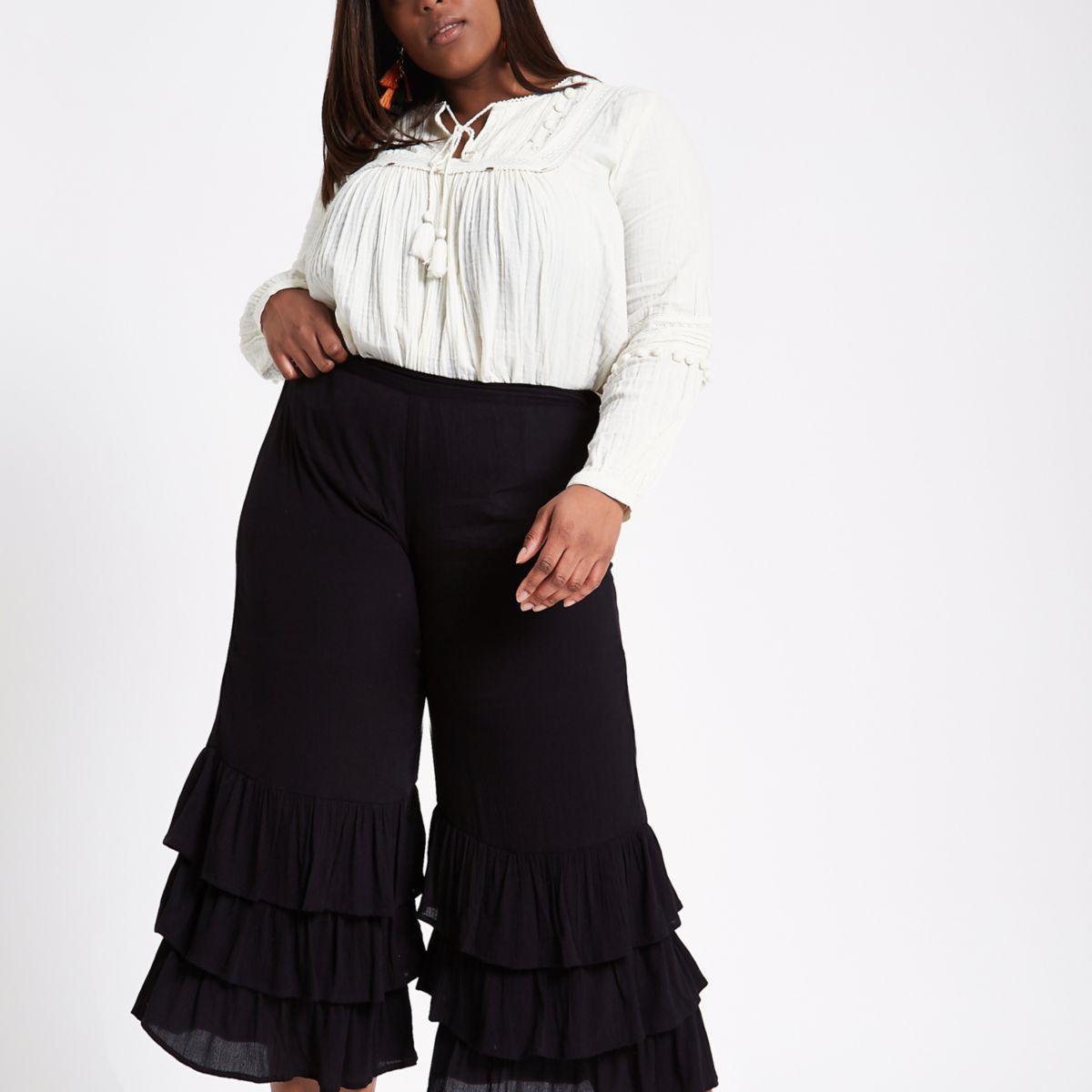 Plus black wide leg frill hem culottes