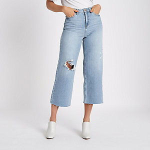 Alexa – Jean large court bleu moyen déchiré