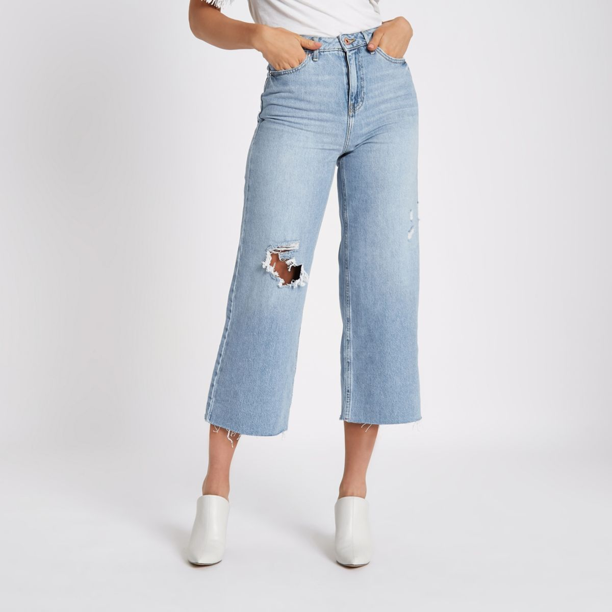 Mid blue ripped Alexa cropped wide leg jeans