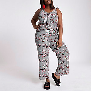 Plus black floral stripe bow front jumpsuit